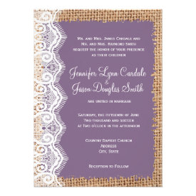 Rustic Country Burlap Purple Wedding Invitations