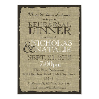 Rustic Country Burlap Rehearsal Dinner Card
