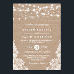 """Rustic Country Burlap String Lights Lace Wedding Card<br><div class=""""desc"""">================= ABOUT THIS DESIGN =================  Rustic Country Burlap String Lights Lace Wedding Invitation.  (1) All text style,  colors,  sizes can be modified to fit your needs. (2) If you need any customization or matching items,  please contact me.</div>"""