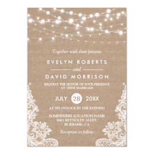 Rustic Country Burlap String Lights Lace Wedding Card at Zazzle