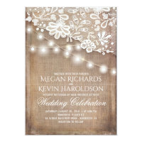 Rustic Country Burlap String Lights Lace Wedding Card