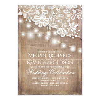 Captivating Rustic Country Burlap String Lights Lace Wedding Card