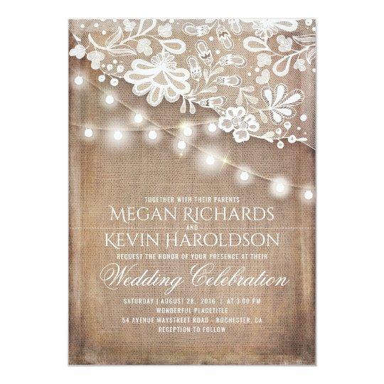 Rustic Lace Wedding Invitations Announcements Zazzle