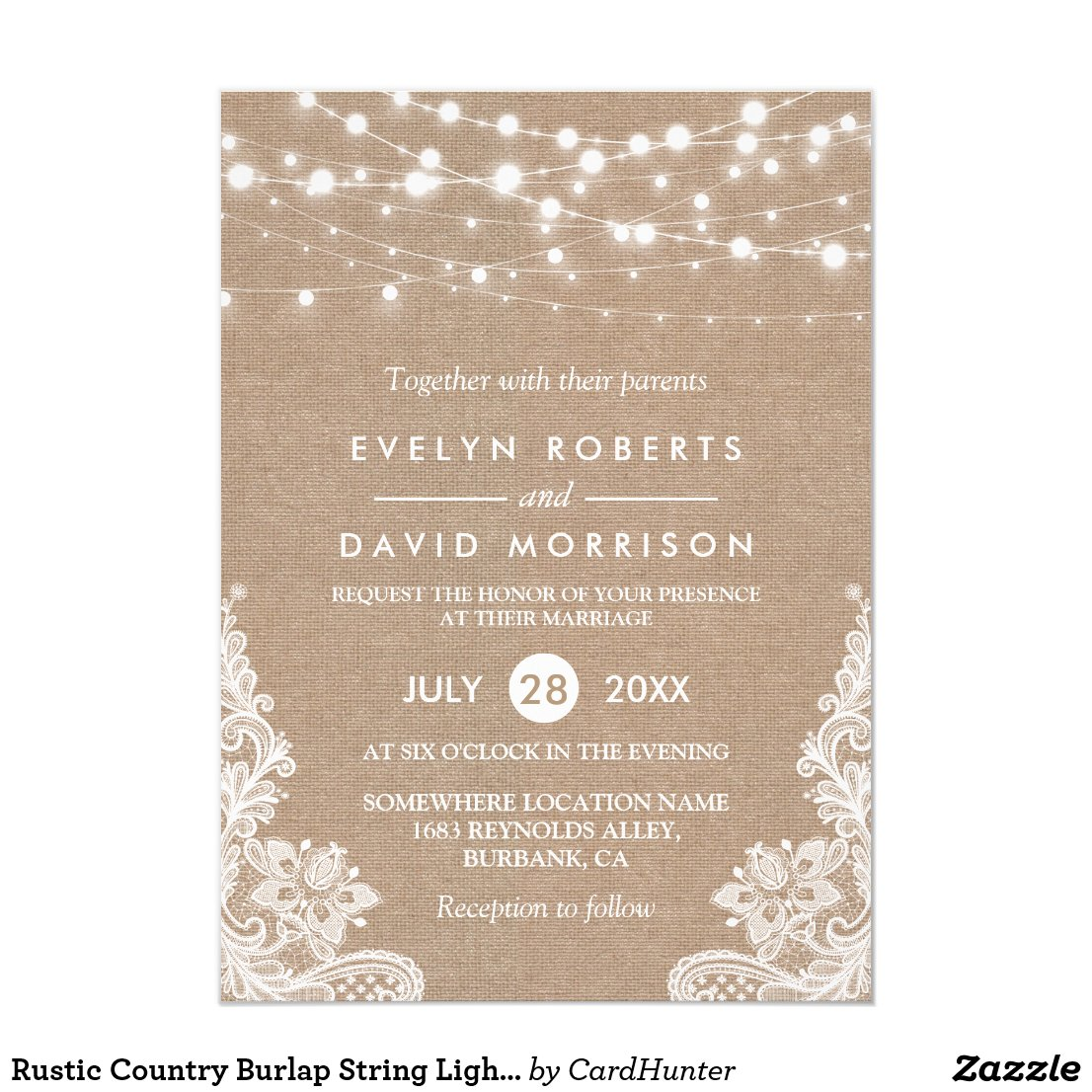 Rustic Country Burlap String Lights Lace Wedding Invitation