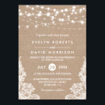 """Rustic Country Burlap String Lights Lace Wedding Invitation<br><div class=""""desc"""">Rustic Country Burlap String Lights Lace Wedding Invitation. (1) For further customization, please click the &quot;customize further&quot; link and use our design tool to modify this template. (2) If you prefer Thicker papers / Matte Finish, you may consider to choose the Matte Paper Type. (3) If you need help or...</div>"""