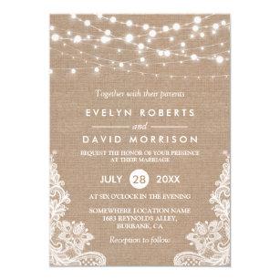 Burlap And Lace Wedding Invitations Zazzle
