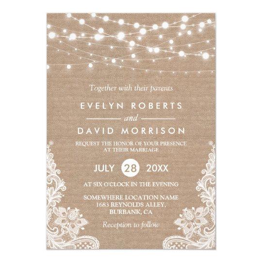 rustic country burlap string lights lace wedding invitation zazzle com