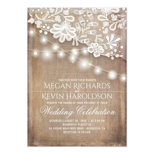 Rustic country burlap string lights lace wedding invitation zazzle rustic country burlap string lights lace wedding invitation filmwisefo