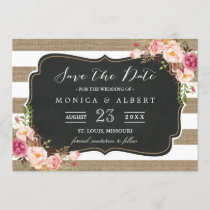 Rustic Country Burlap Stripes Floral Save the Date