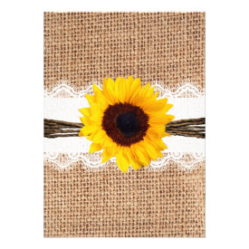 Rustic Country Burlap Sunflower Lace Wedding Announcement