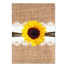 Rustic Country Burlap Sunflower Lace Wedding Invitation