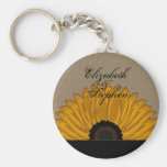 .Rustic Country Burlap Sunflower Wedding Favors Basic Round Button Keychain