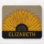 .Rustic Country Burlap Sunflower Wedding Favors Mouse Pad