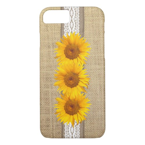 Rustic Country Burlap & Sunflowers iPhone 8/7 Case