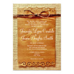 Rustic Country Burlap Twine Bow Wedding Invitation