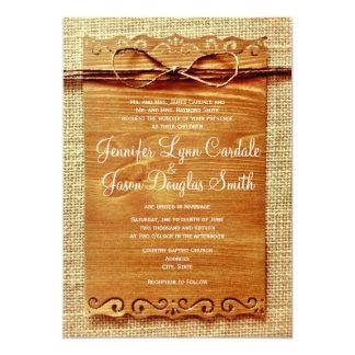 Rustic Country Burlap Twine Bow Wedding Invitation