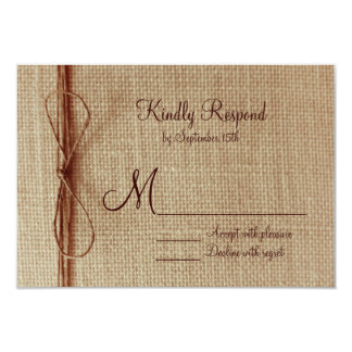 Rustic Country Burlap Twine Bow Wedding RSVP Cards