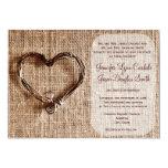 Rustic Country Burlap Twine Heart Wedding Invite