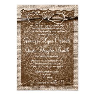 Rustic Country Burlap Twine Scroll Wedding Invites