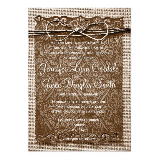 Rustic Scroll Design: Rustic Country Burlap Twine Scroll Wedding Invites