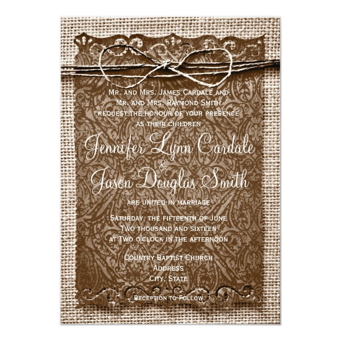 Rustic Scroll: Rustic Country Burlap Twine Scroll Wedding Invites