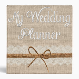 Rustic Country Burlap Twine Wedding Planner Binder