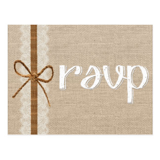 Rustic Country Burlap Twine Wedding RSVP Card