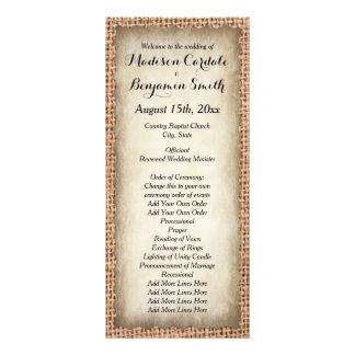 Rustic Country Burlap Vintage Wedding Programs