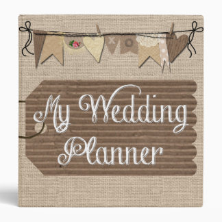 Rustic Country Burlap Wedding Planner Binder