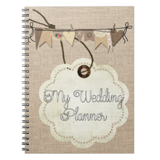 Rustic Country Burlap Wedding Planner Notebook