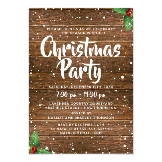 Rustic Country Business Company Christmas Party Card at Zazzle
