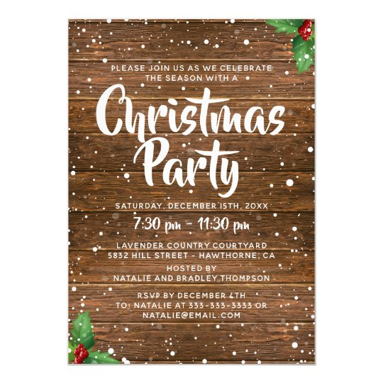 Rustic Country Business Company Christmas Party Invitation Zazzle Com