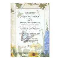 Rustic Country Butterfly Dragonfly Daisy Floral Invitation