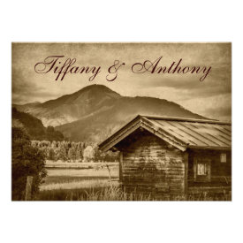 Rustic Country Cabin Mountain Wedding Invitations