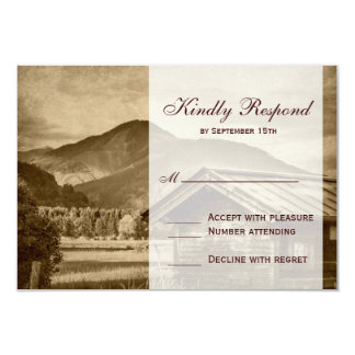 Rustic Country Cabin Mountain Wedding RSVP Cards