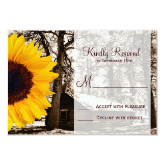 Rustic Country Cabin Sunflower Wedding RSVP Cards Personalized Invitations