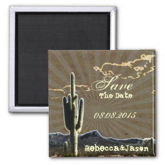 Rustic country cactus wedding save the date 2 inch square magnet
