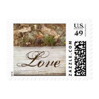 Rustic Country Camo and Wood LOVE Postage Stamp
