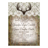 Rustic Country Camo Hunting Antlers Wedding Invite (<em>$2.15</em>)