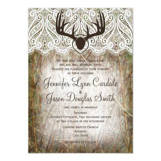 Hunting Camo Wedding Ideas: Rustic Country Camo Hunting Antlers Wedding Invite