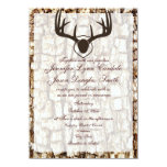 """Rustic Country Camo Hunting Antlers Wedding Invite 4.5"""" X 6.25"""" Invitation Card"""