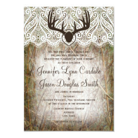 Rustic Country Camo Hunting Antlers Wedding Invite 4.5