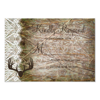 Rustic Country Camo Hunting Antlers Wedding RSVP 3.5x5 Paper Invitation Card