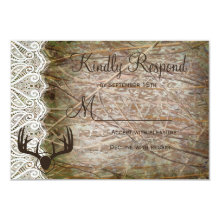 Rustic Country Camo Hunting Antlers Wedding RSVP Card