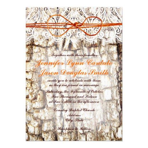 Rustic Country Camo Orange Bow Wedding Invitations 45 X 625 Invitation Card