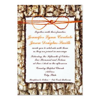 Rustic Country Camo Orange Bow Wedding Invitations