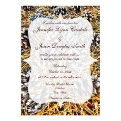 Rustic Country Camo Pine Cones Wedding Invitations