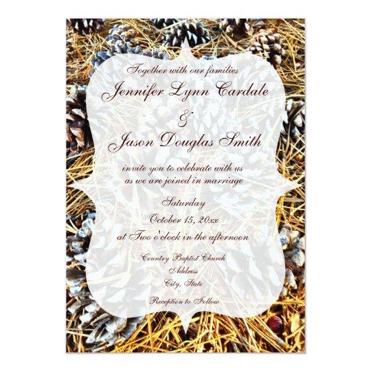 Camo Outdoor Wedding Ideas: Rustic Country Camo Pine Cones Wedding Invitations