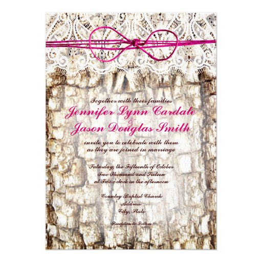 Rustic Country Camo Pink Bow Wedding Invitations 45 X 625 Invitation Card
