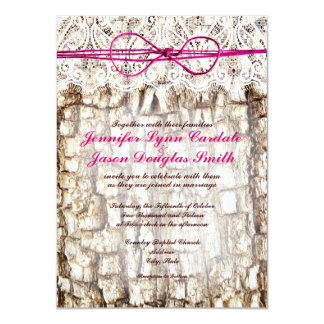 Rustic Country Camo Pink Bow Wedding Invitations